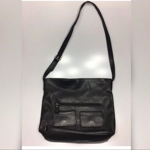 Gianni Bini Black Pebbled Leather Crossbody